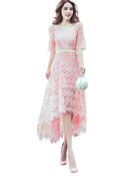 Ericdress Solid Color Asymmetric Half Sleeve Lace Dress