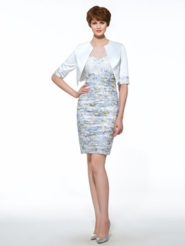 Ericdress Beautiful Illusion Neck Printed Sheath Knee Length Mother Of The Bride Dress With Jacket