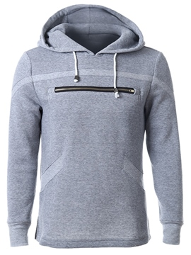 Ericdress Front Zip Casual Pullover Men's Hoodie