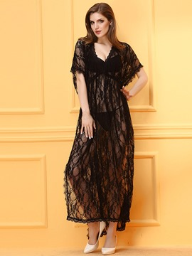 Ericdress Black Lace Length Slit Sexy Babydoll
