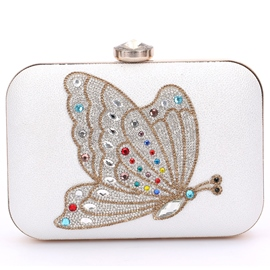 Ericdress Colorful Diamante Butterfly Evening Clutch