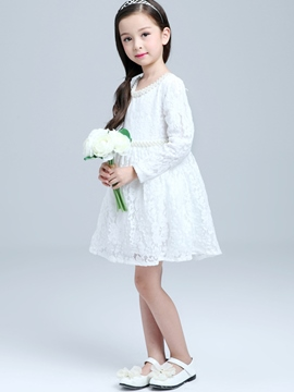 Ericdress Lace Hollow Bead-Trim Belt Girls Dress