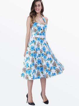 Ericdress Rockabilly Style Blue Floral Casual Dress