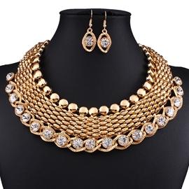 Ericdress Fashion Gold Flash Rhinestone Jewelry Set