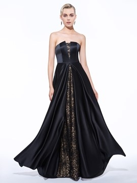 Ericdress A-Line Strapless Lace Sequins Long Evening Dress
