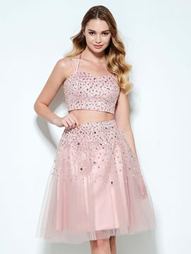 Ericdress a-ligne Halter perles mi-longues Homecoming robe