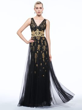 Ericdress A-Line V-Neck Appliques Floor-Length Zipper-Up Evening Dress