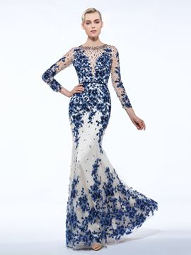 Ericdress Sheath Long Sleeves Sashes Sequins Evening Dress With Appliques And Beadings