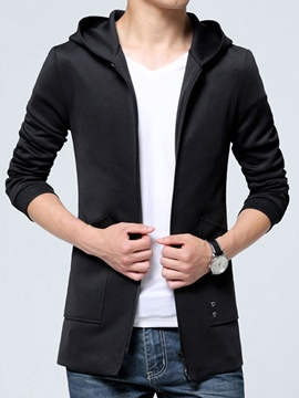 Ericdress Plain Hood Casual Slim Men's Jacket