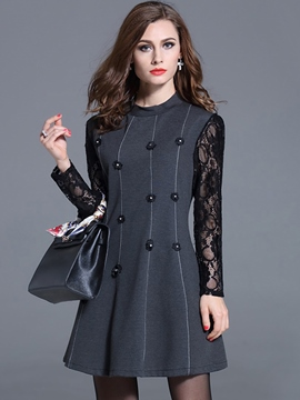 Ericdress Lace Patchwork Round Neck A-Line Casual Dress