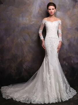Ericdress Beautiful Off The Shoulder Long Sleeves Mermaid Wedding Dress
