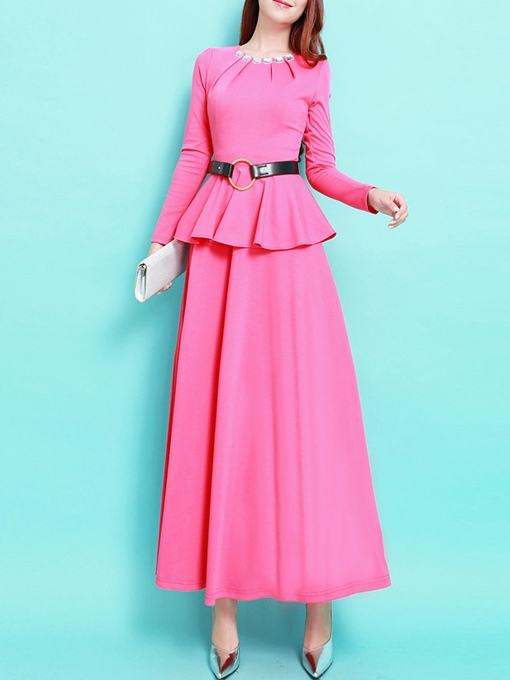 Ericdress Solid Color Peplum Long Sleeve Maxi Dress