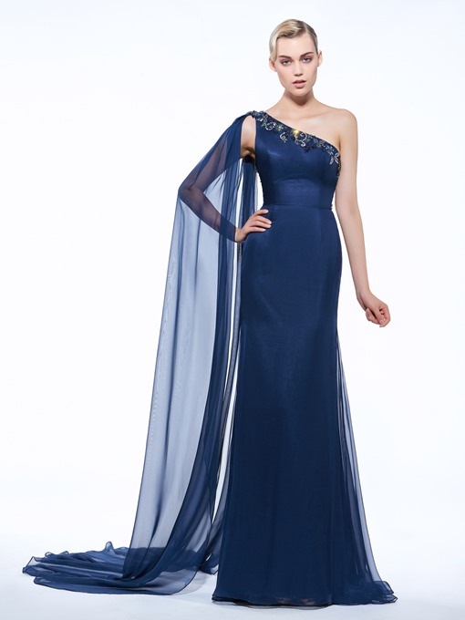 Ericdress Sheath One-Shoulder Appliques Beading Watteau Train Evening Dress