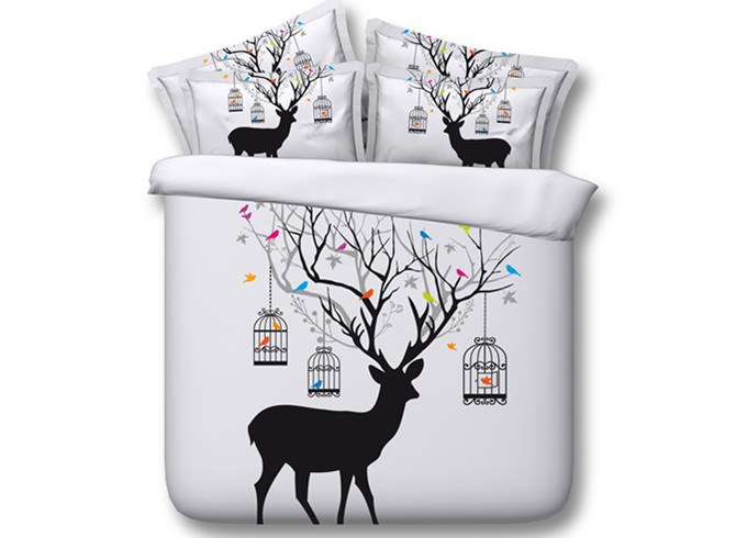 3D Deer with Tree Antlers Printed Cotton 4-Piece White Bedding Sets/Duvet Covers
