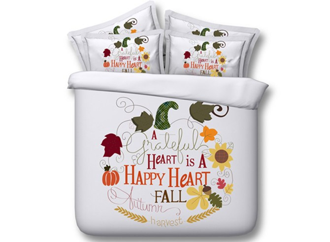 3D Happy Autumn Harvest Printed 4-Piece White Bedding Sets/Duvet Covers
