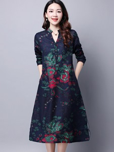 Ericdress Autumn Long Sleeve Ethic Print Casual Dress