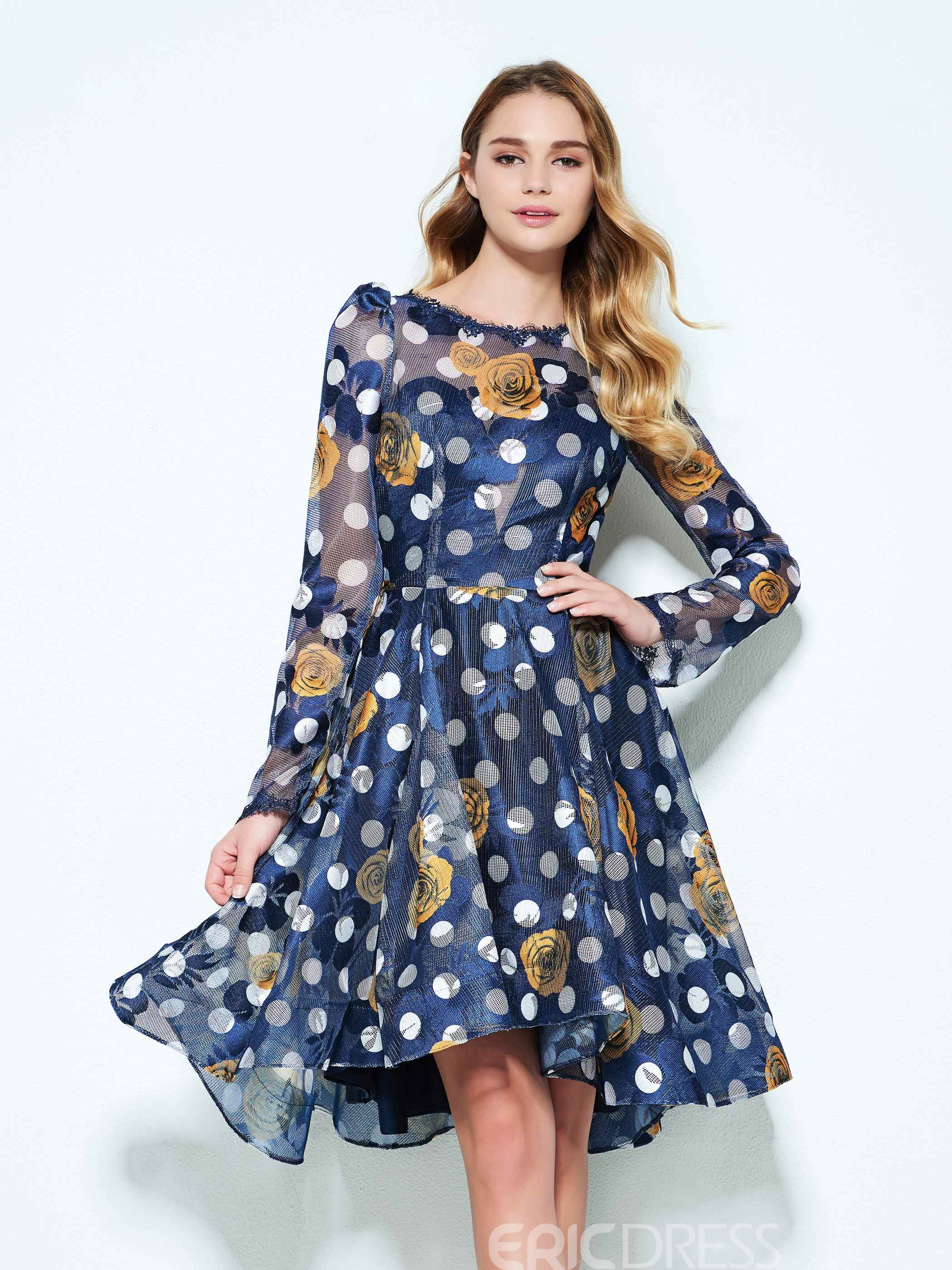Ericdress A-Line Bateau Long Sleeves Hollow Printed Knee-Length Homecoming Dress