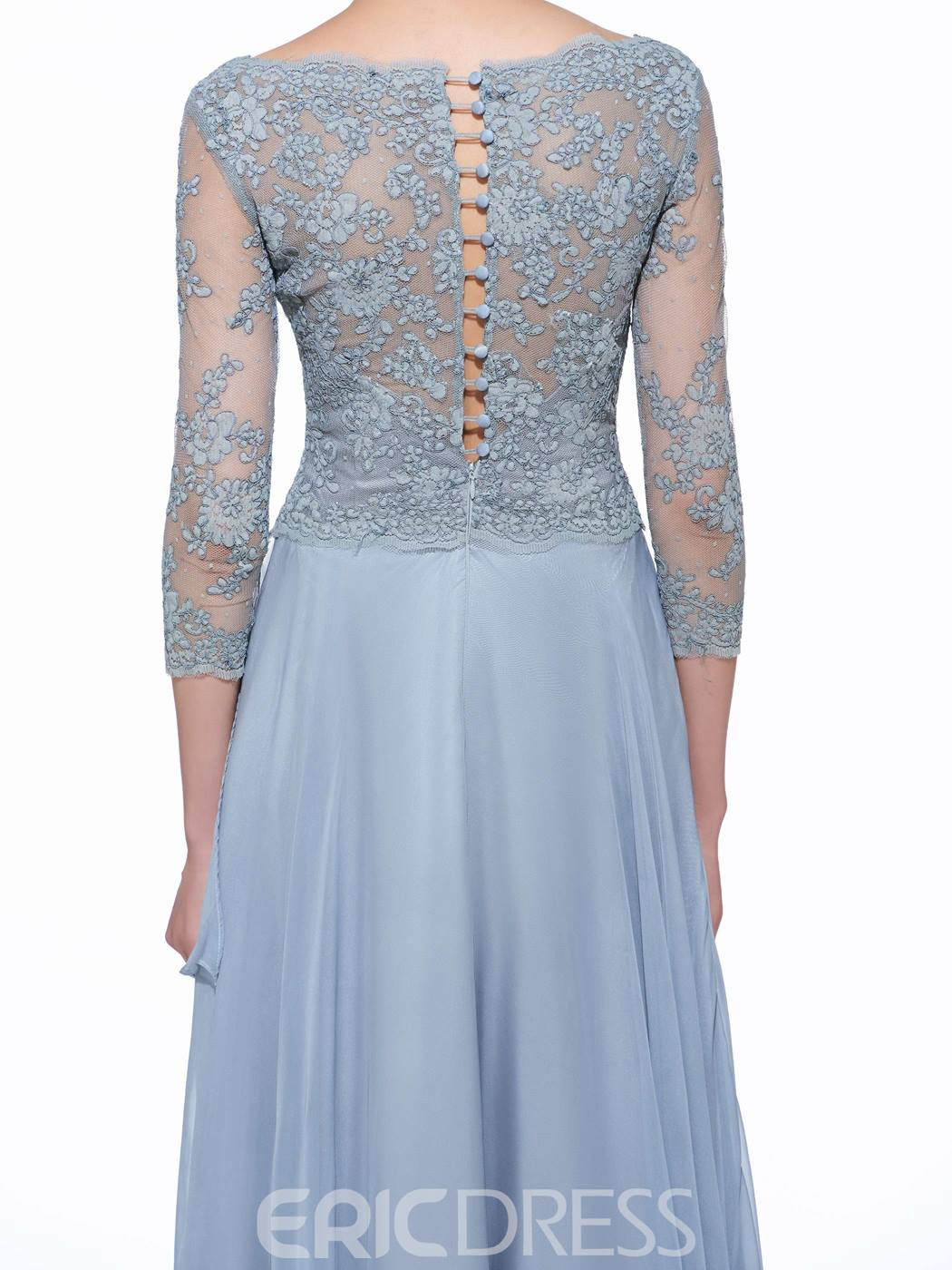 Ericdress Elegant V Neck 3/4 Length Sleeves Lace Long Mother Of The Bride Dress