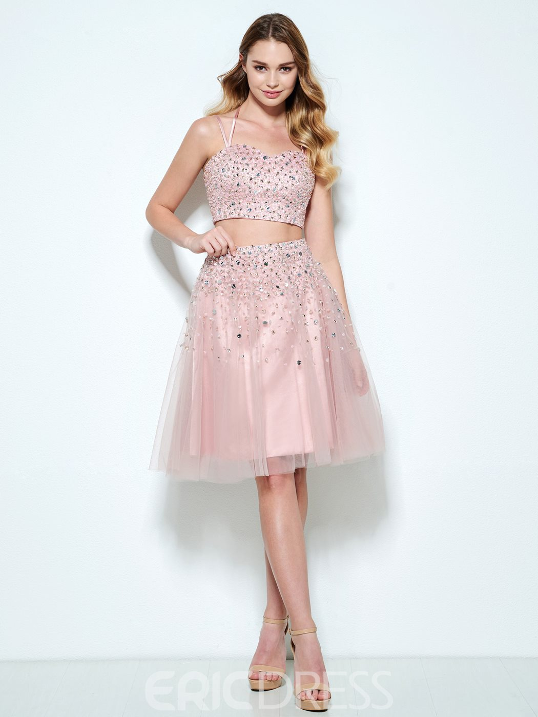 Ericdress A-Line Halter Beading Knee-Length Homecoming Dress