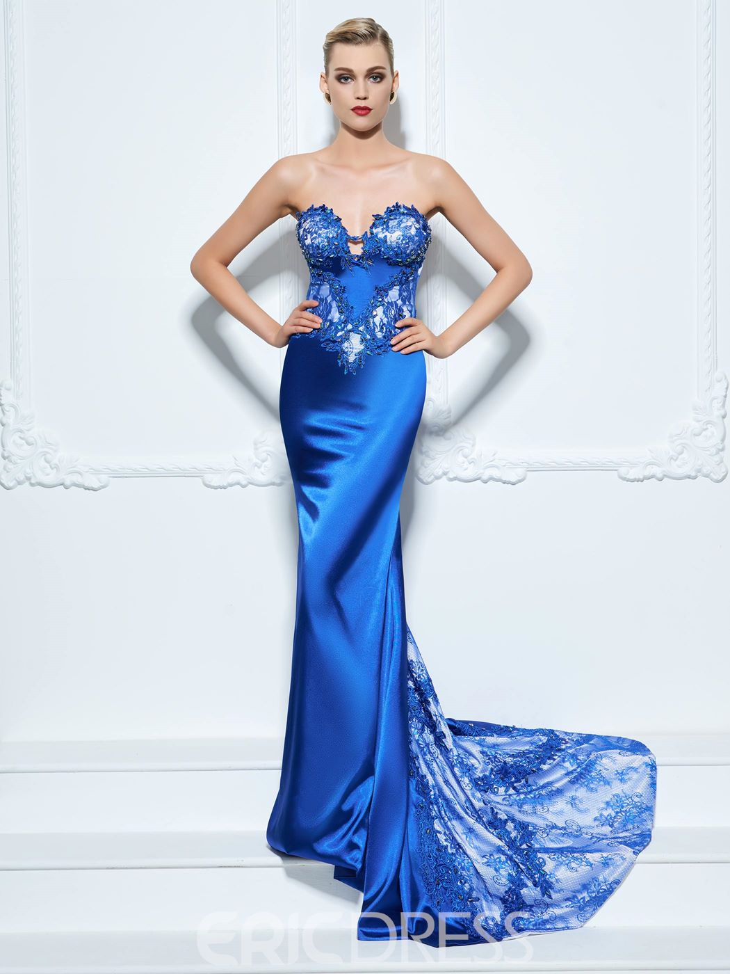 Ericdress Sweetheart Trumpet Appliques Beading Button Lace Sweep Train Evening Dress