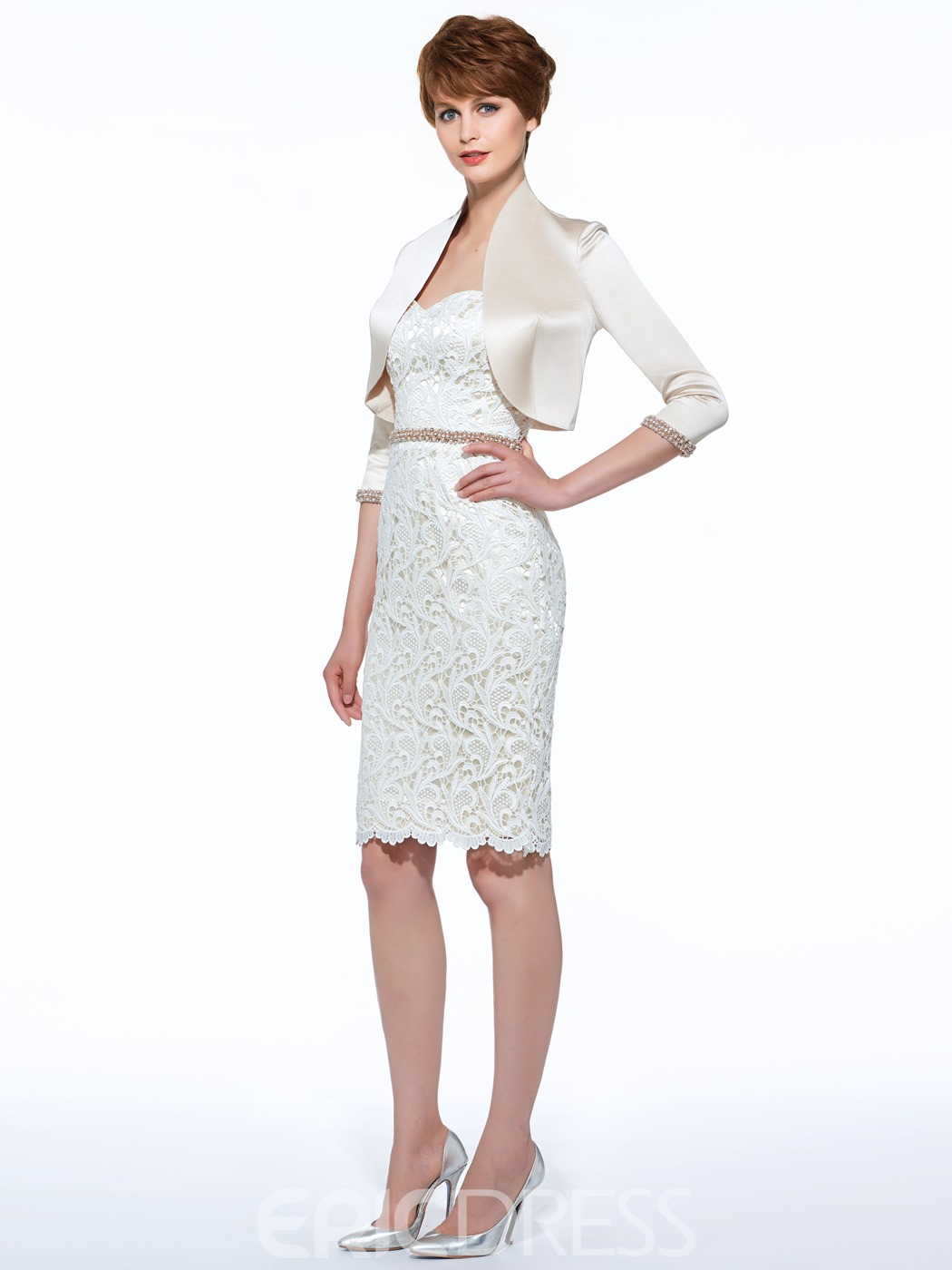 Ericdress Pearl Lace Sheath Mother Of The Bride Dress With Jacket