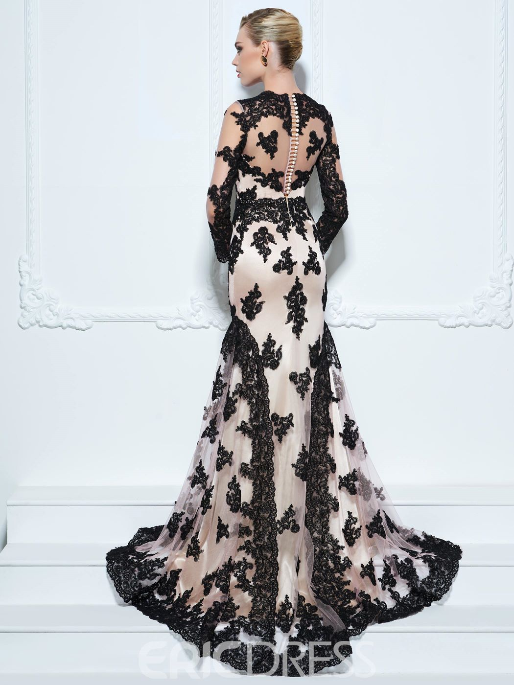 Ericdress Long Sleeves Appliques Lace Mermaid Evening Dress With Court Train
