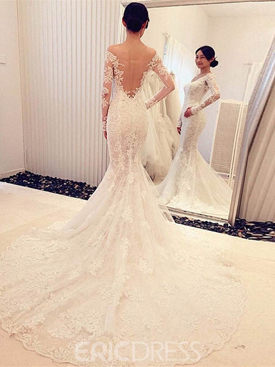 Ericdress Mesh Mermaid Lace Long Sleeves Off Shoulder Wedding Dress With Train