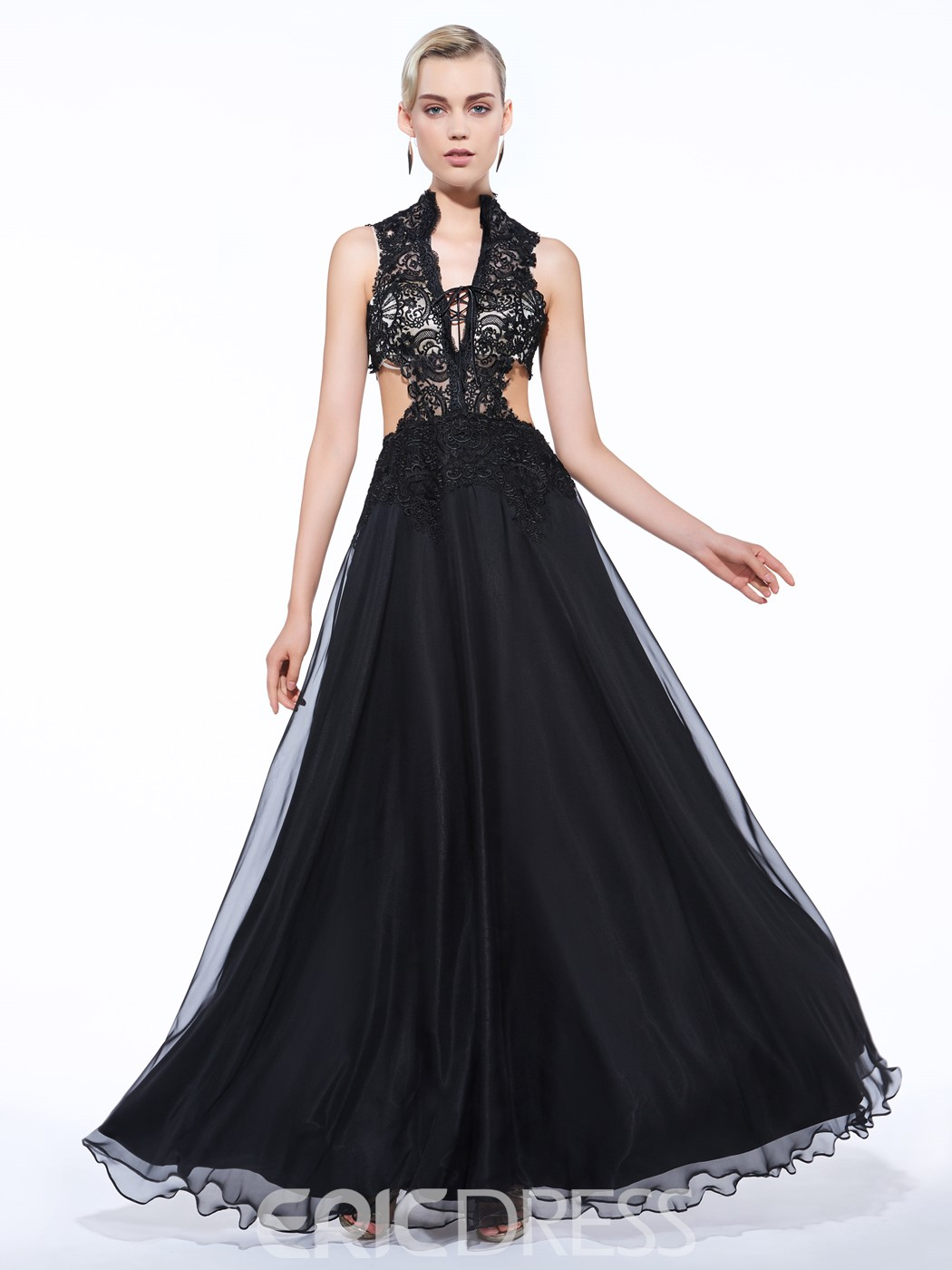Ericdress A-Line V-Neck Appliques Hollow Lace Long Evening Dress