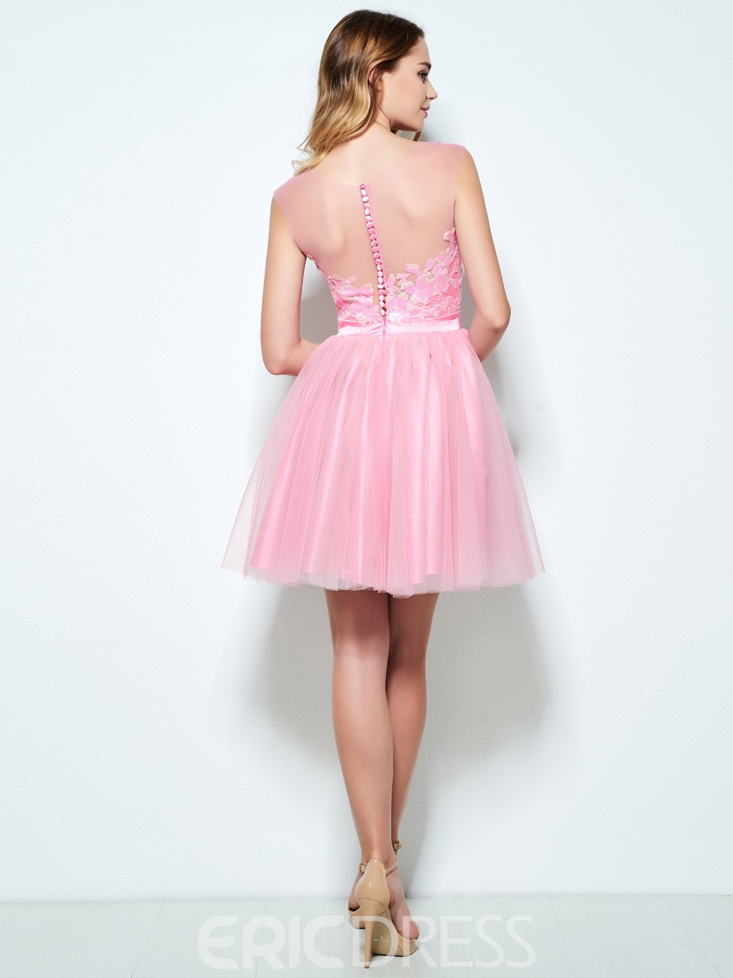 Ericdress A-Line Bateau Appliques Sequins Short Homecoming Dress