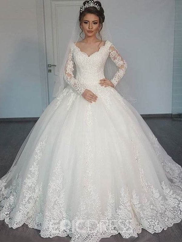 Ericdress Beautiful V Neck Ball Gown Wedding Dress With Sleeves