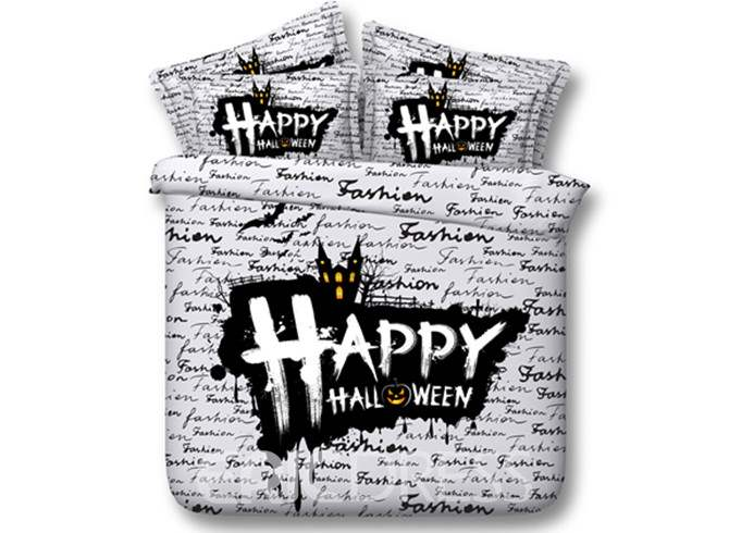Happy Halloween Printed 4-Piece White 3D Bedding Sets/Duvet Covers