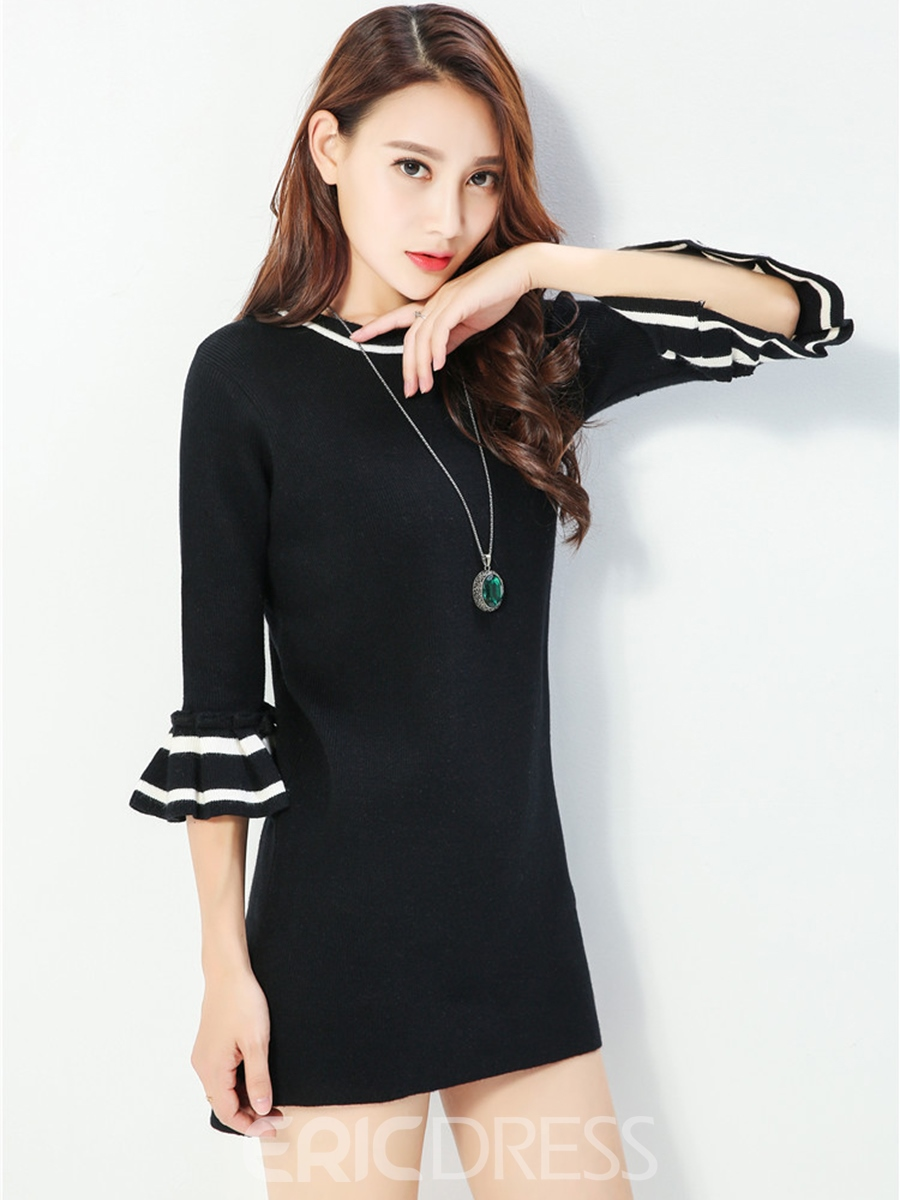 Ericdress Flare Sleeve Round Neck Sweater Dress