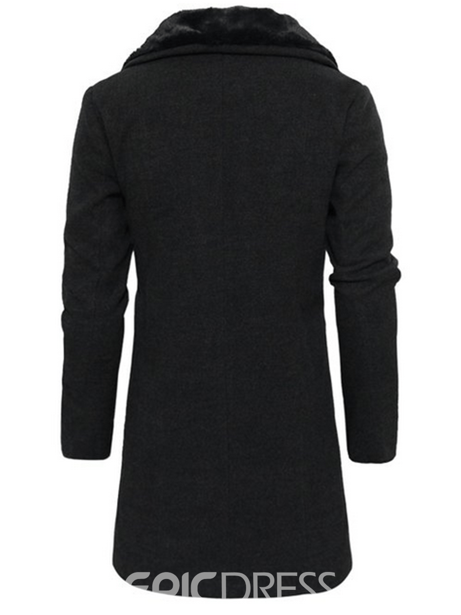 Ericdress Fur Collar Oblique Zip Vogue Slim Men's Woolen Coat