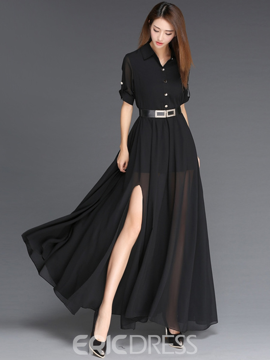 Ericdress Solid Color Half Sleeve See-Through Maxi Dress