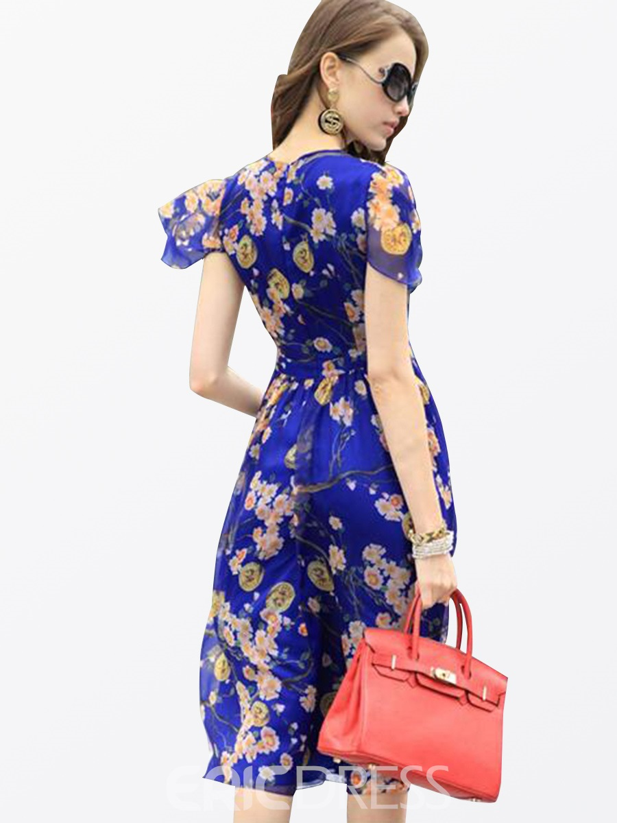 Ericdress Scoop Floral Print Expansion A Line Dress