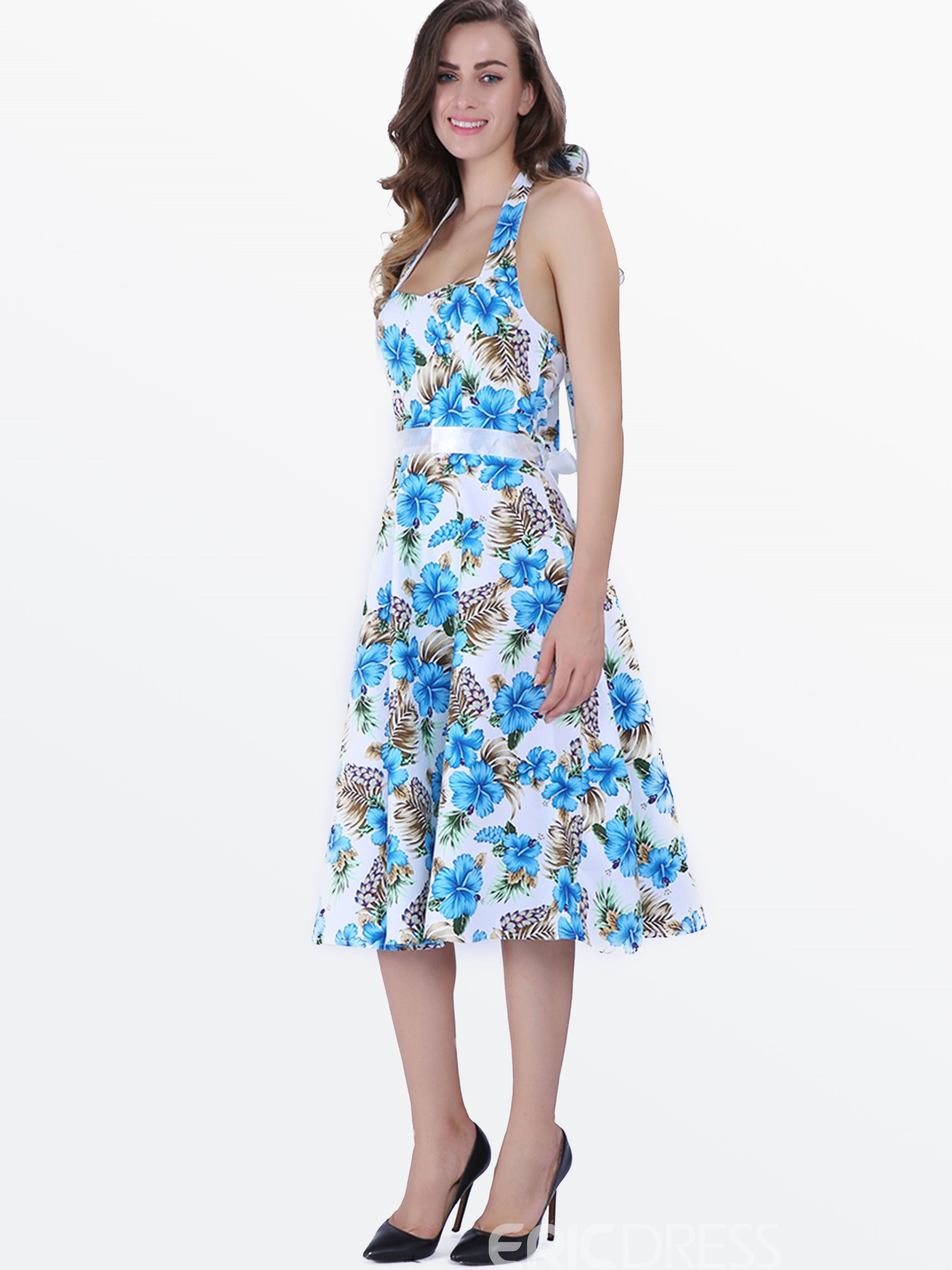 Ericdress Rockabilly Style Blue Floral Casual Dress 11404756 ...