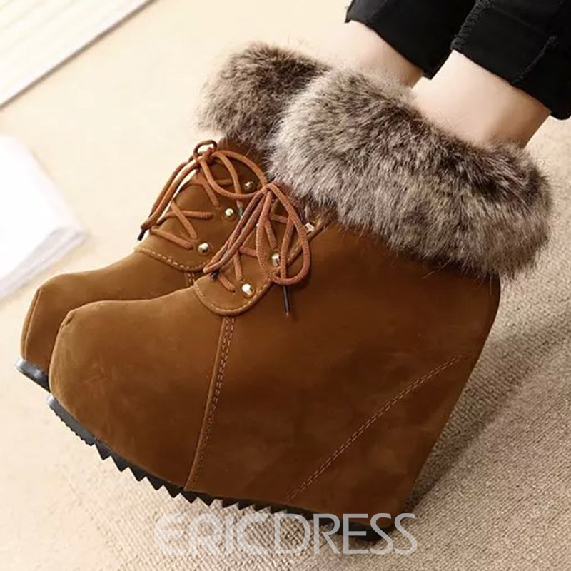 Ericdress Warm Furry Wedge Ankle Boots