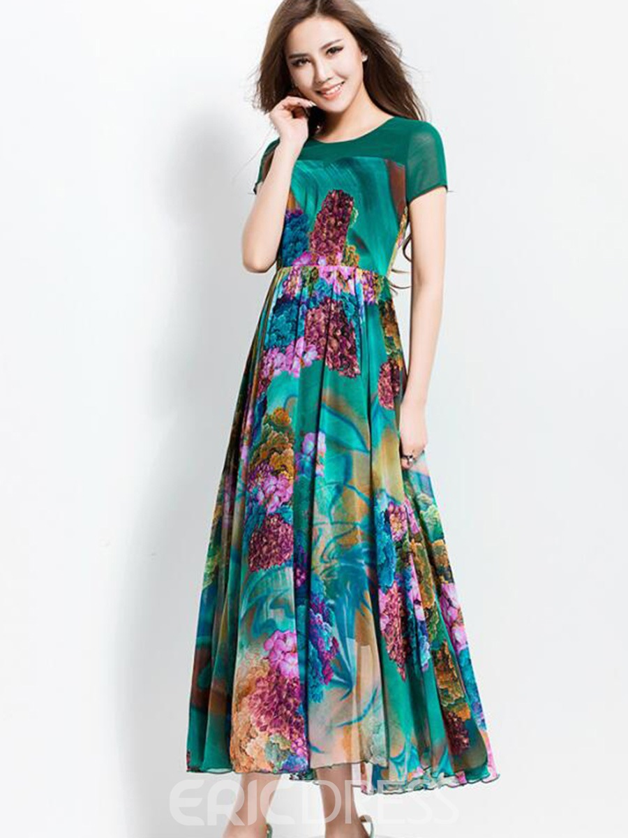 Ericdress Short Sleeve Print Patchwork Expansion Maxi Dress