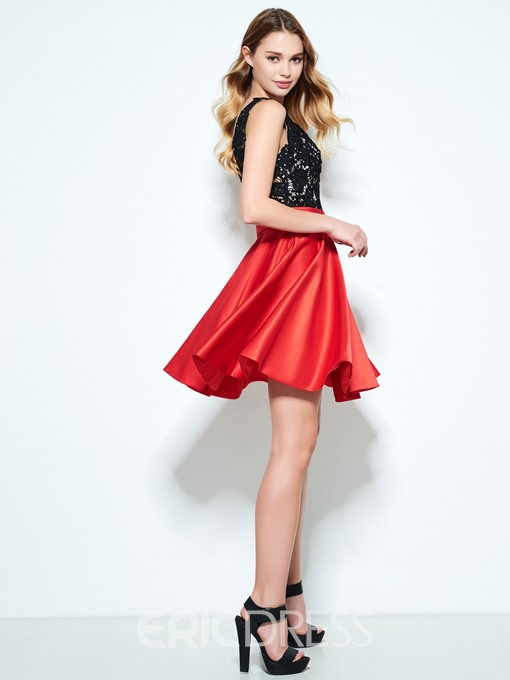 Ericdress A-Line Straps Lace Pleats Mini Homecoming Dress