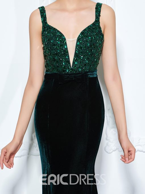Ericdress Straps Beading Bowknot Mermaid Evening Dress With Court Train