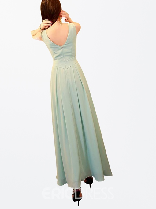 Ericdress Chic Solid Color Maxi Dress