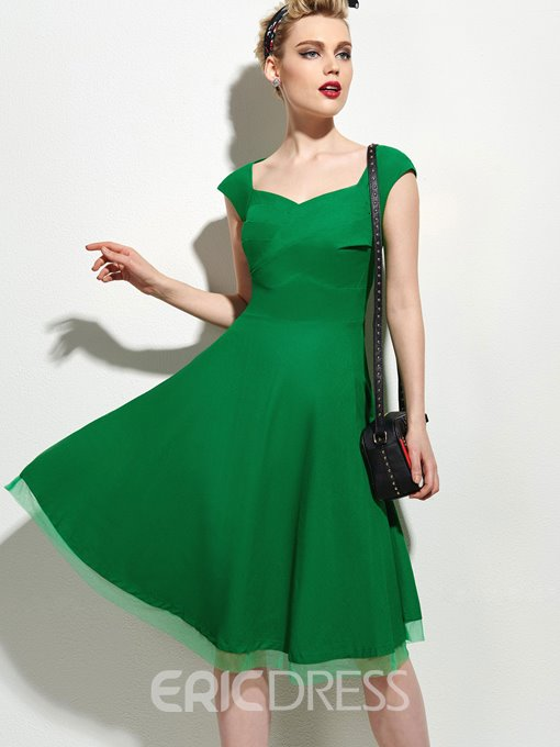 Ericdress Plain Pleated Patchwork A Line Dress
