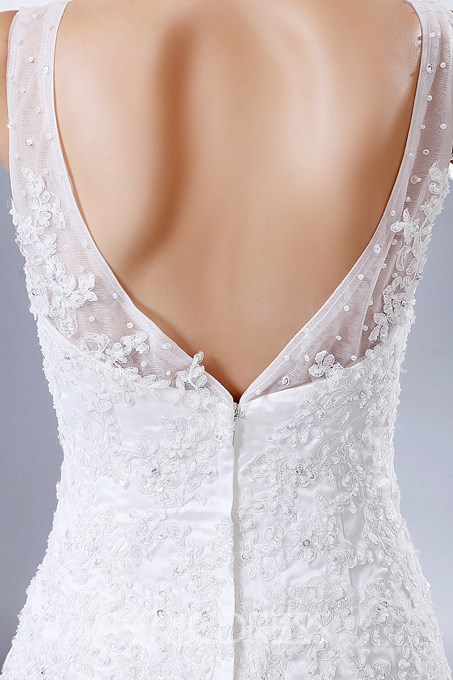 Ericdress Beautiful Appliques Beaded V Neck A Line Wedding Dress