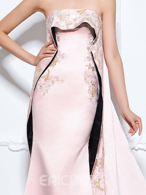 Ericdress Mermaid Strapless Appliques Embroidery Watteau Train Evening Dress