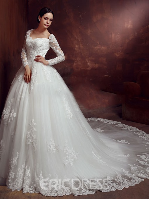 Ericdress Amazing Ball Gown Long Sleeves Backless Wedding Dress