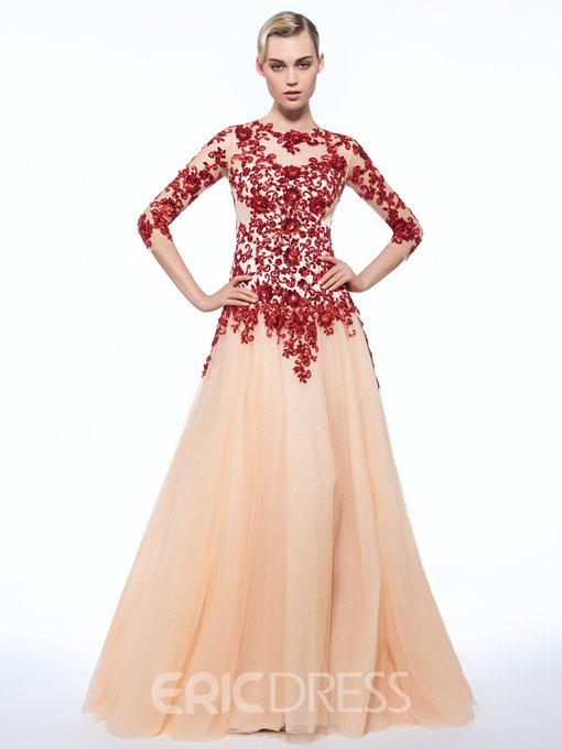 Ericdress A-Line Jewel 3/4 Length Sleeves Sleeves Appliques Button Sequins Evening Dress