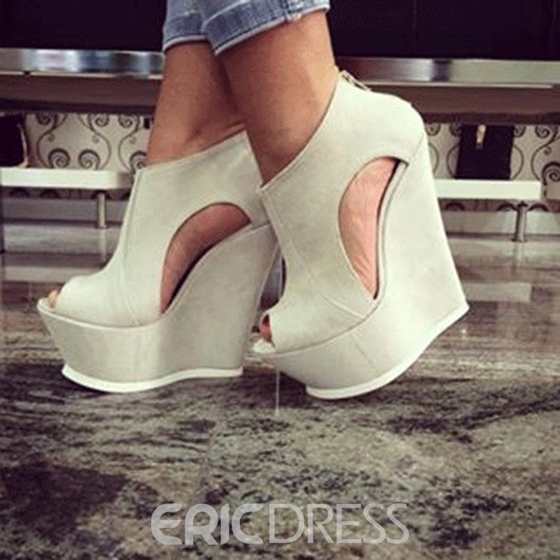 Ericdress PU Platform Peep Toe Wedge Sandals