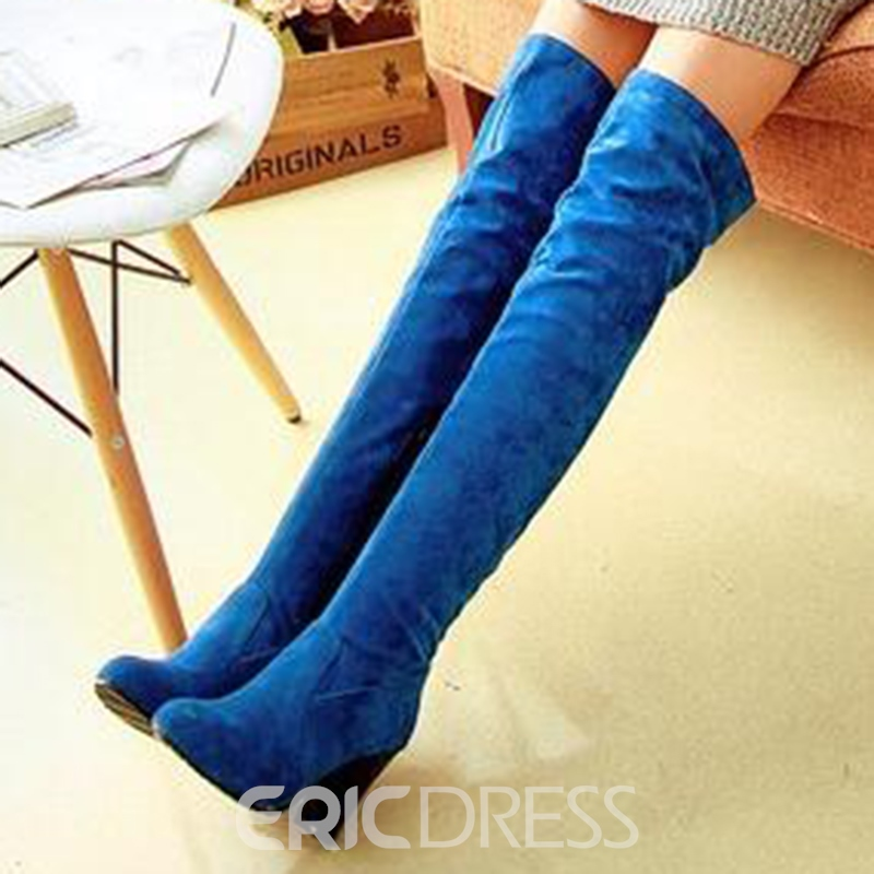 Ericdress Simplet Suede Side Zip Knight Knee High Boots