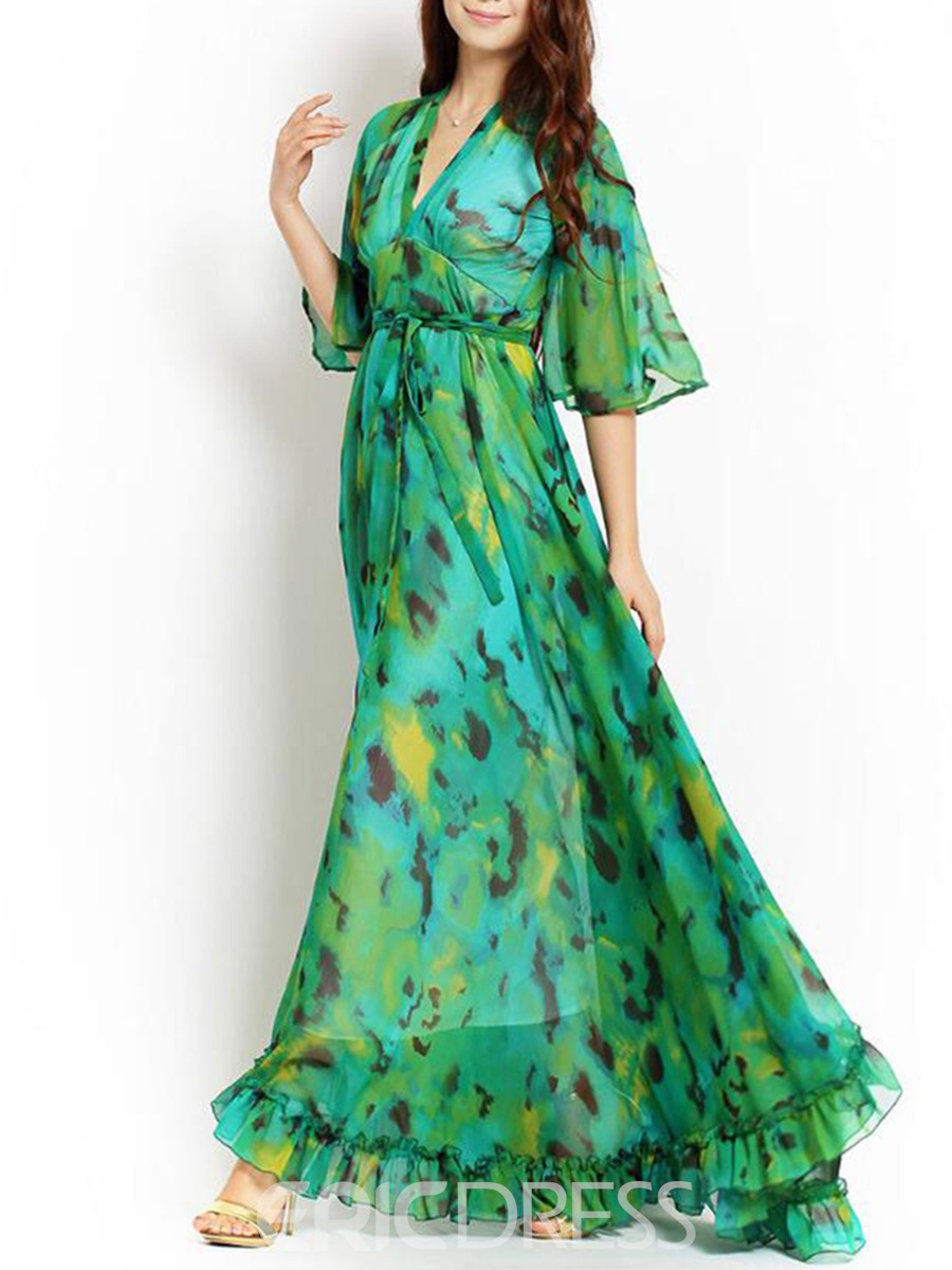 Ericdress Print V-Neck Half Sleeve Expansion Maxi Dress