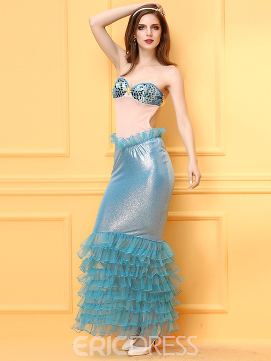Ericdress Strapless Pleated Sexy Mermaid Cosplay Halloween Costume